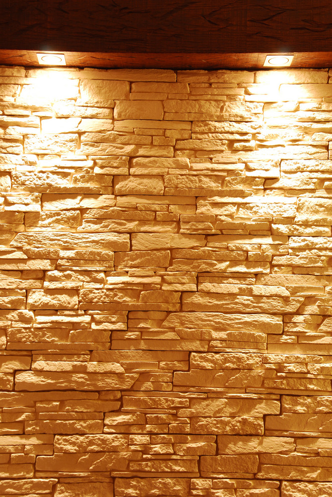 Unshaped Stone Wall With Spot Lights
