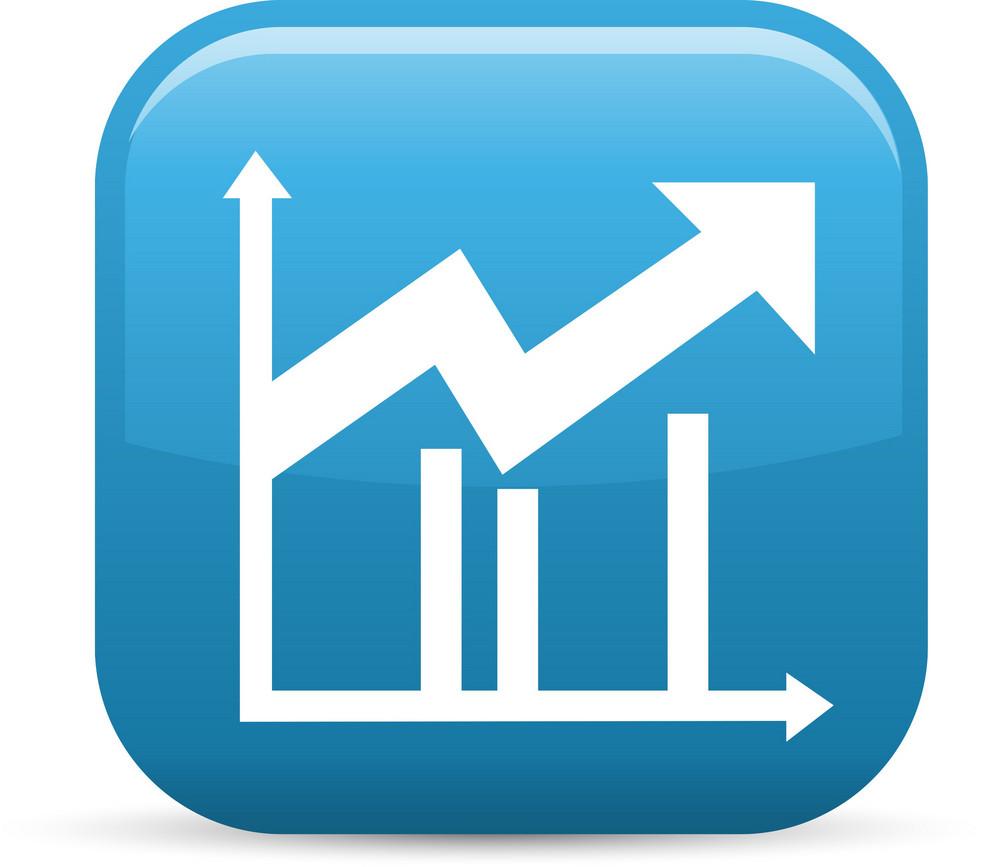 Upward Line Graph Elements Glossy Icon