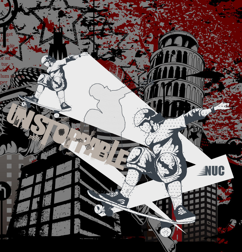 Urban Background With Skater Vector Illustration