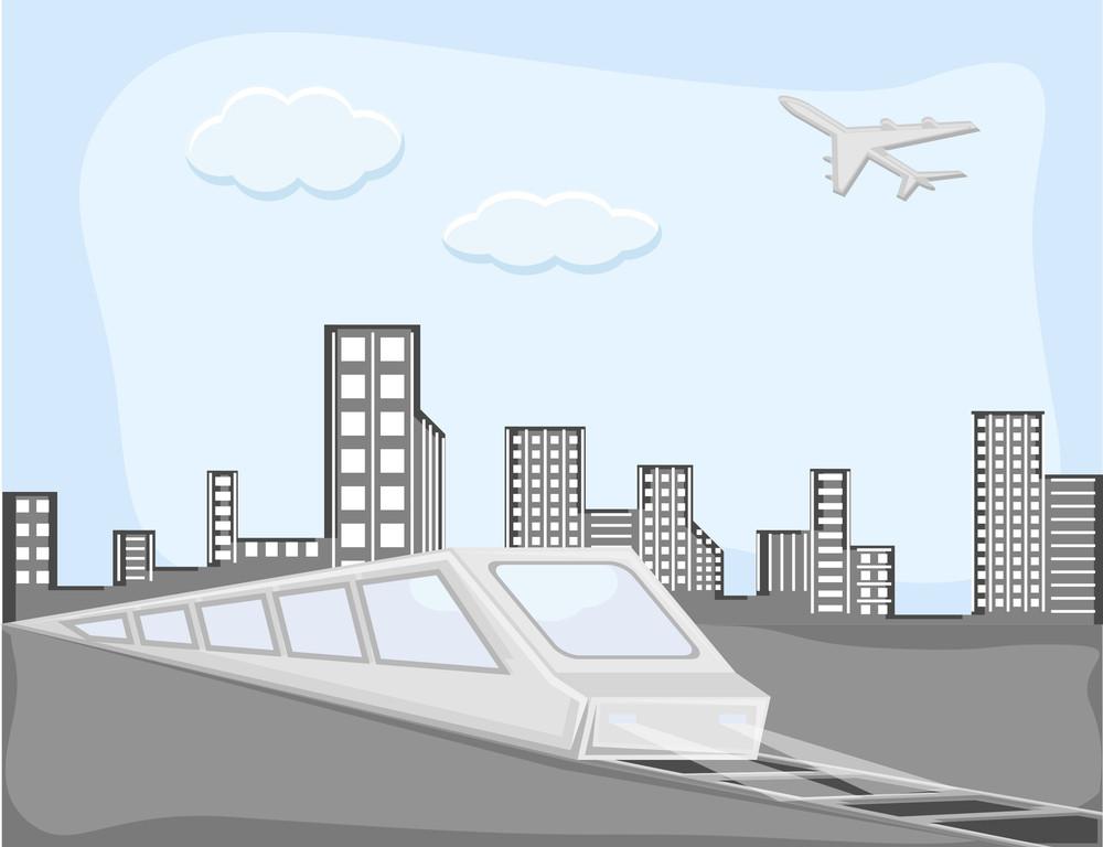 Urban City - Cartoon Background Vector