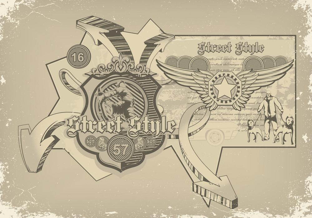 Urban Label With Skater Vector Illustration