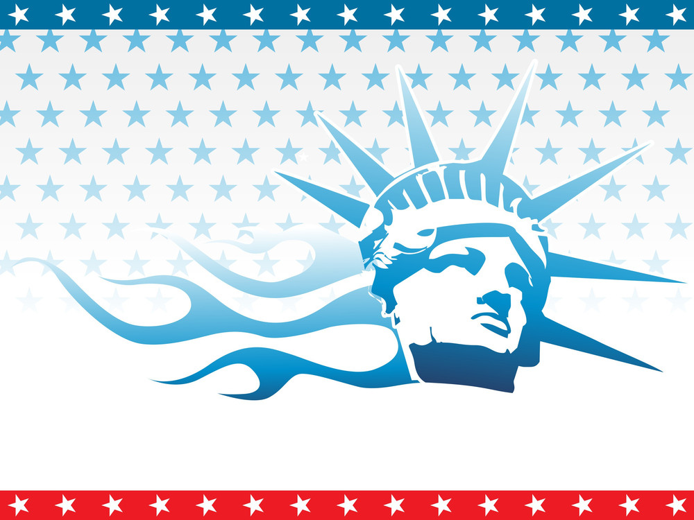 Us Background With Liberty Face