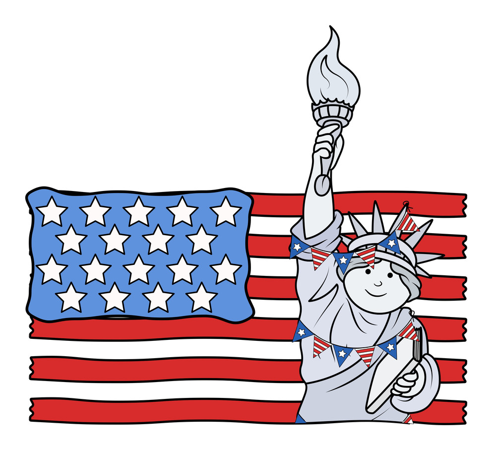 Us Flag With Decorative Statue Of Liberty On Independence Day