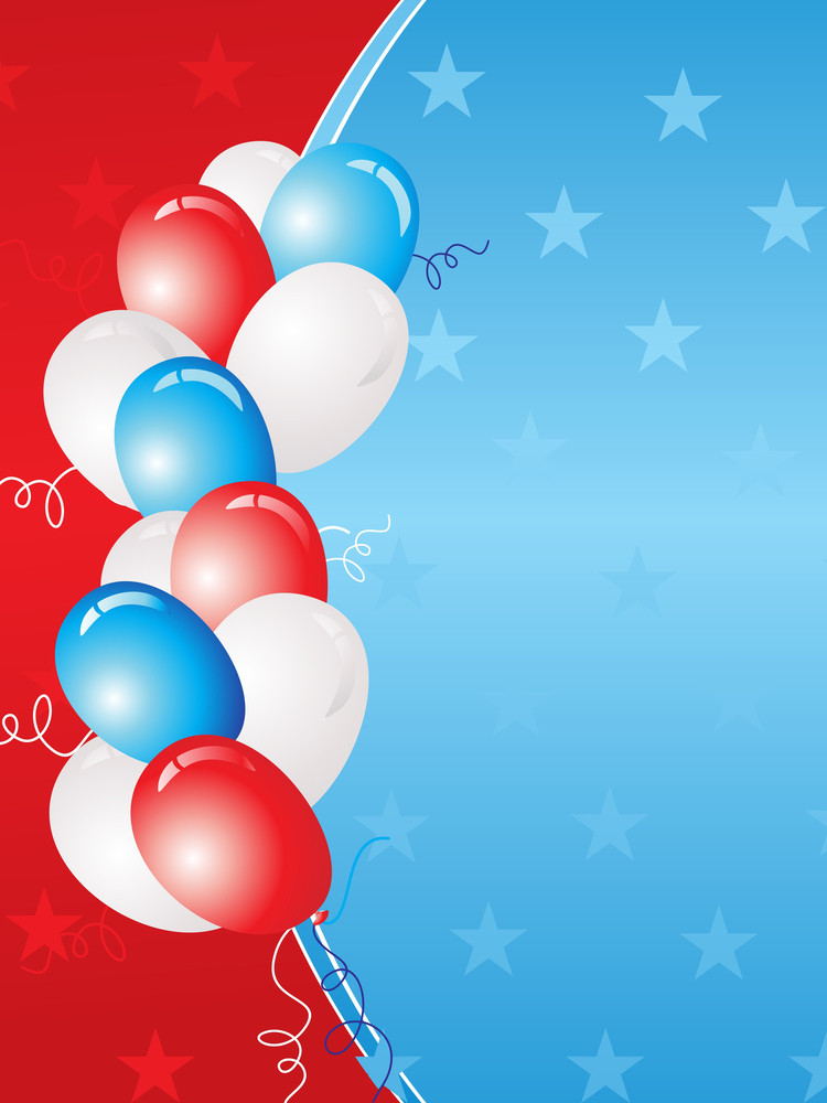 Us Independence Day Card With Balloon