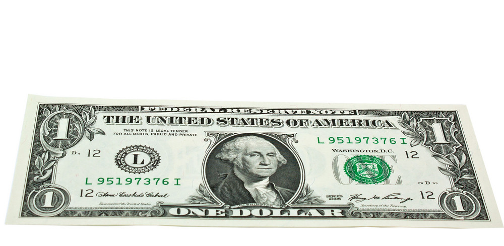 Us One Dollar Bill  Flat Angle Isolated