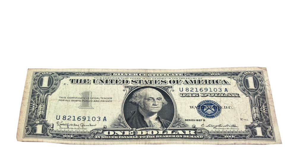 Us Vintage Silver Certificate 1957 Isolated Royalty Free Stock Image
