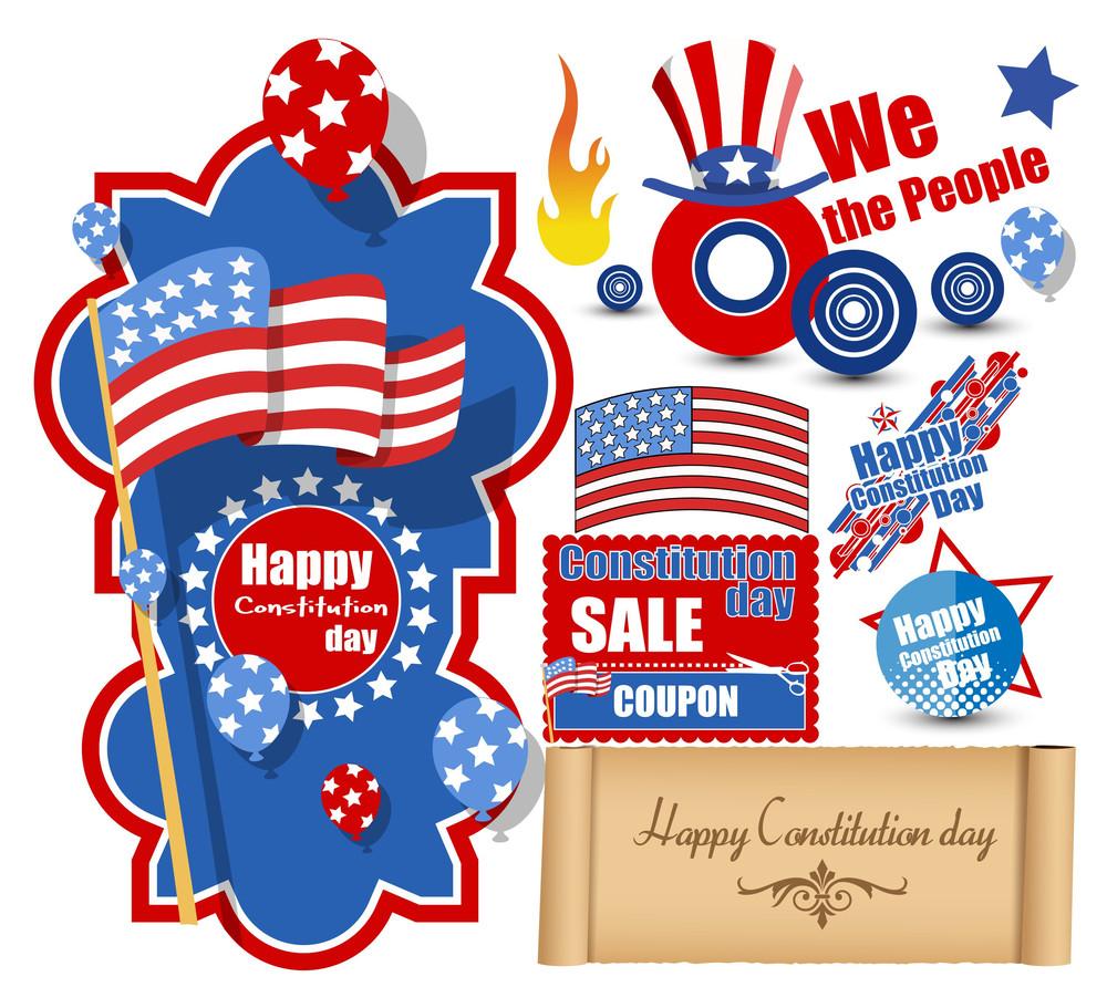 Usa Constitution Day Design Vectors Set