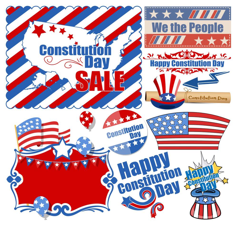 Usa Constitution Day Web Design Vectors Set
