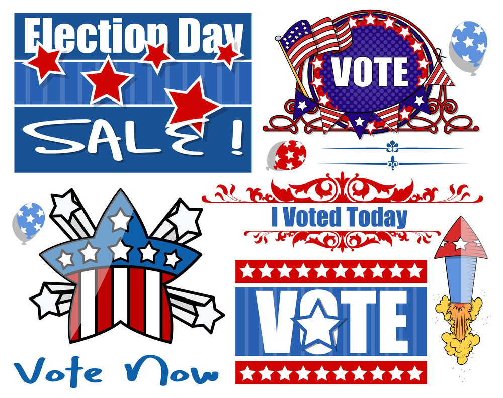 Usa Election Day Festival Vector Graphics Set