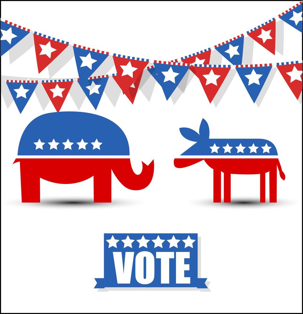 Usa Election Day Symbol Festival Vector Graphics Set