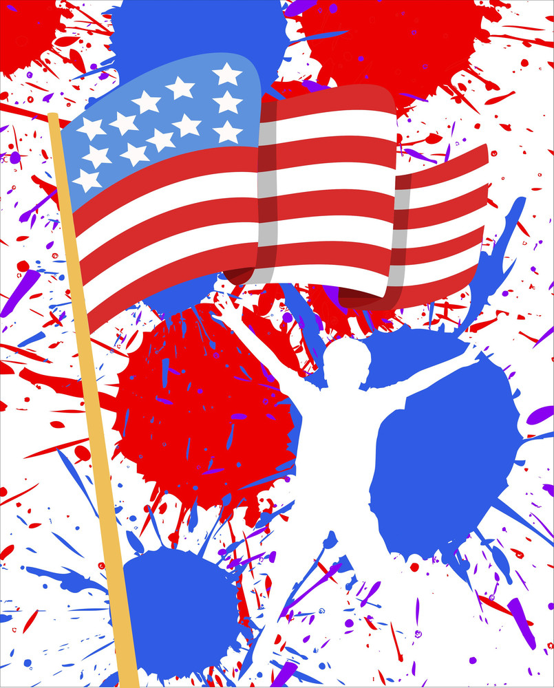 Usa Flag 4th Of July Vector Theme Design Royalty Free Stock Image