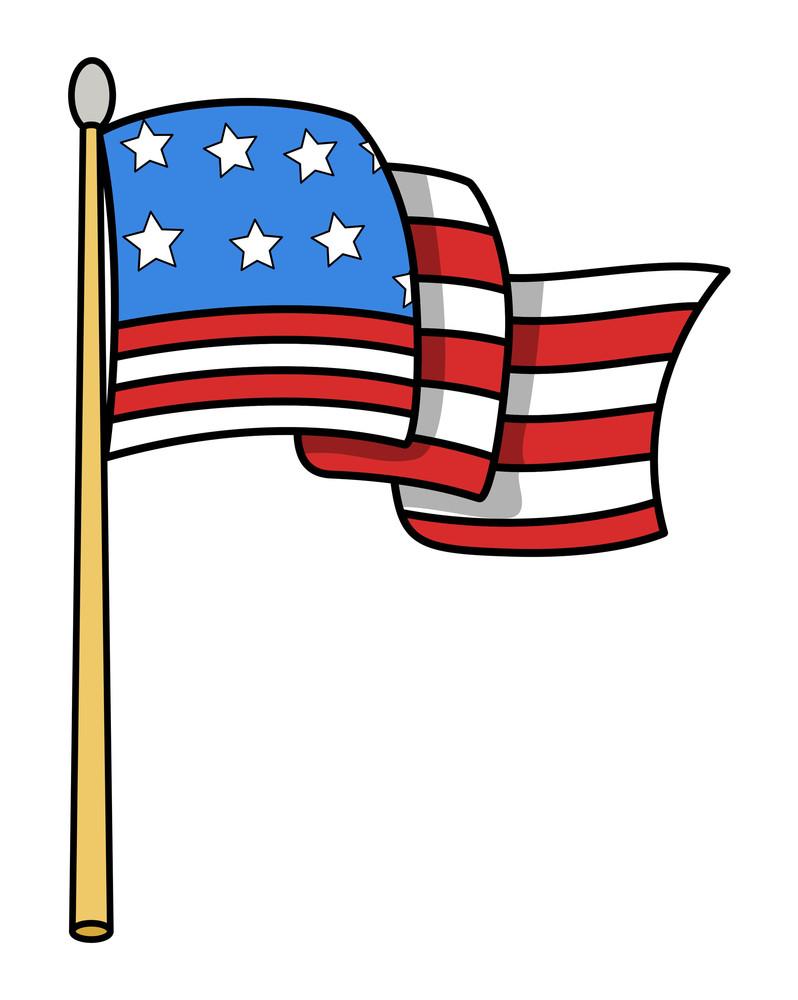 Usa Flag Cartoon Vector Illustration