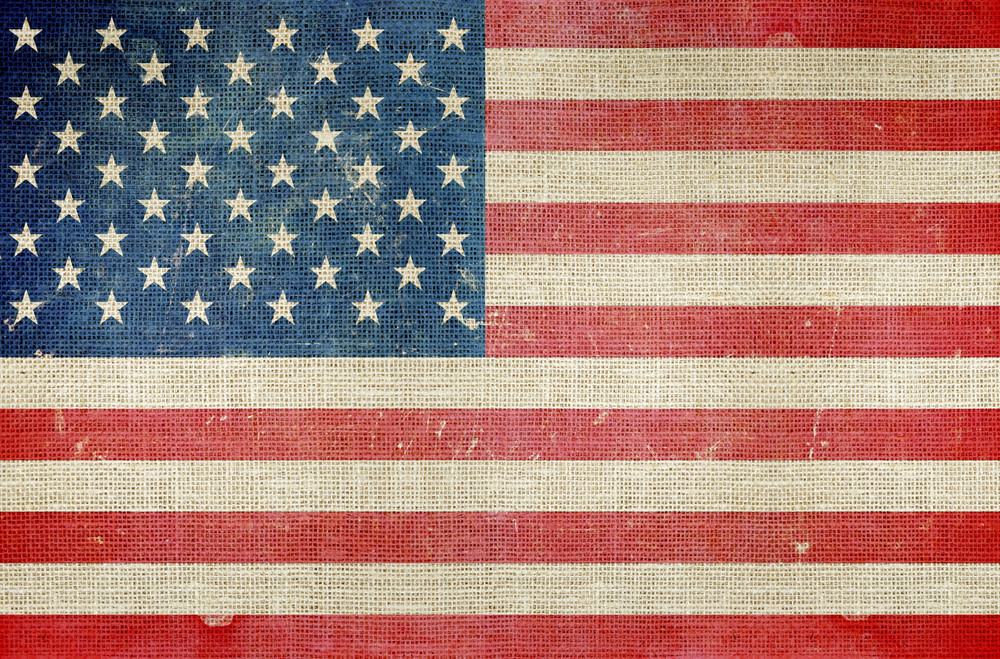 Usa Flag On Canvas