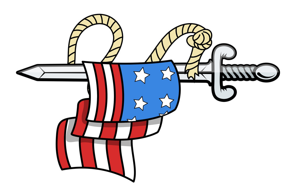 Usa Flag On Sword Vector Illustration Tattoo