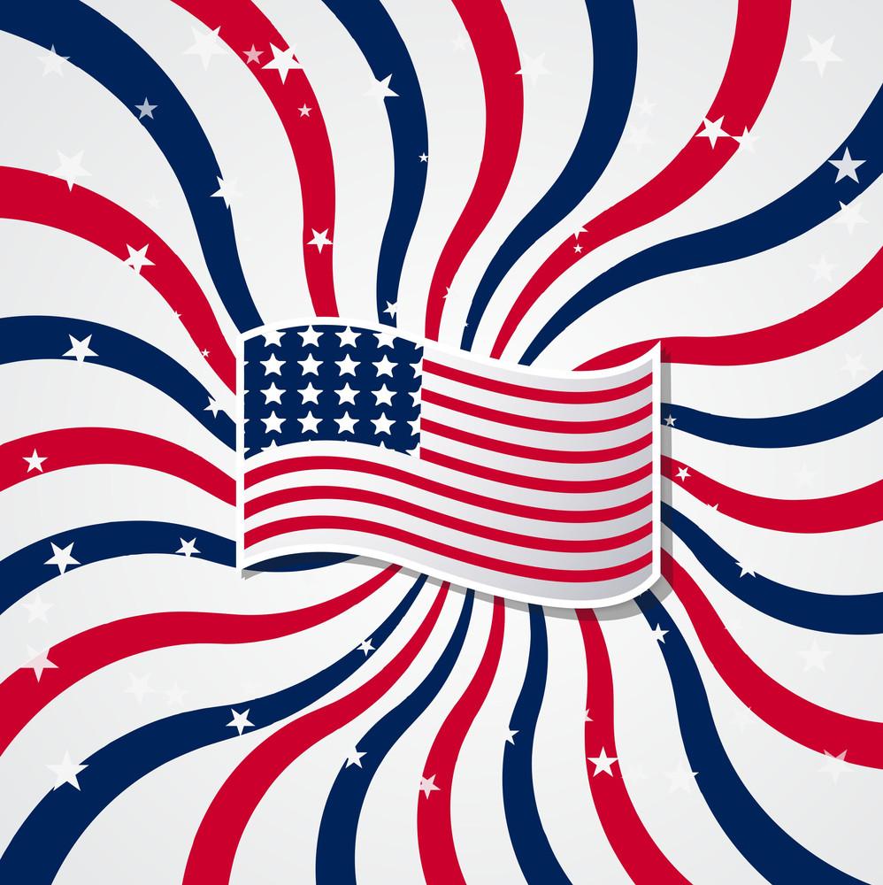 Usa Flag Sunburst Background
