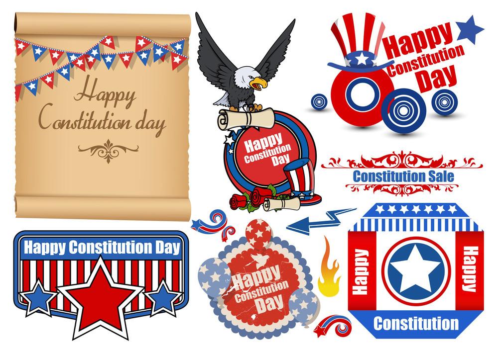 Usa Flag Theme Constitution Day Patriotic Design Backgrounds & Elements Vectors Set