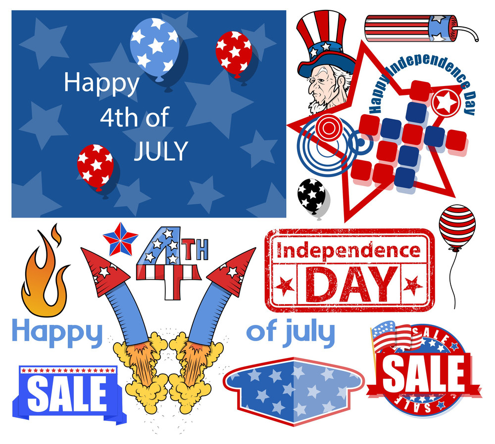 Usa Freedom  4th Of July  Vector Designs Set