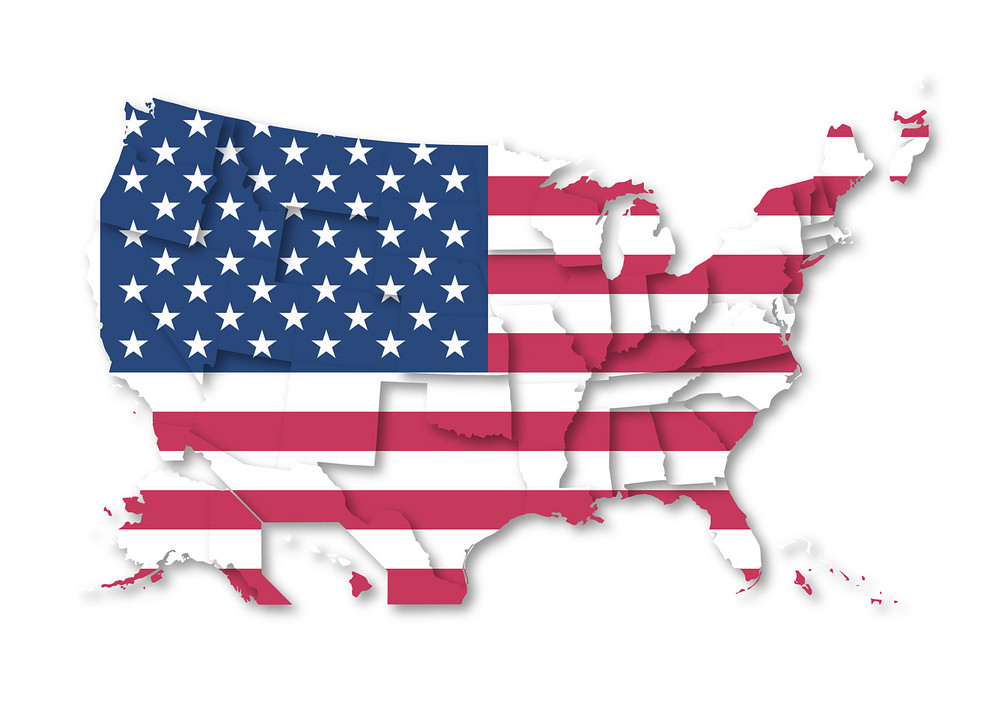 Usa Map With Flag Pattern Background