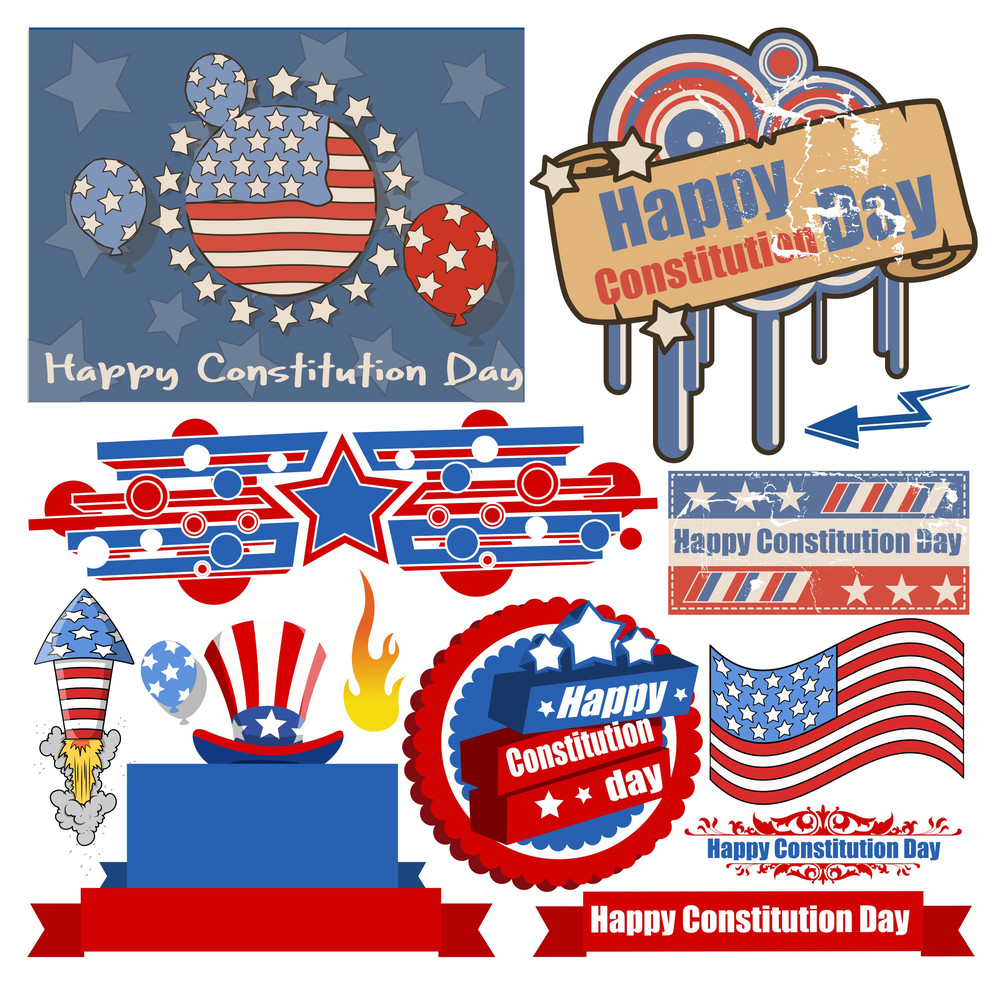 Usa Patriotic Themed Constitution Day Design Vectors
