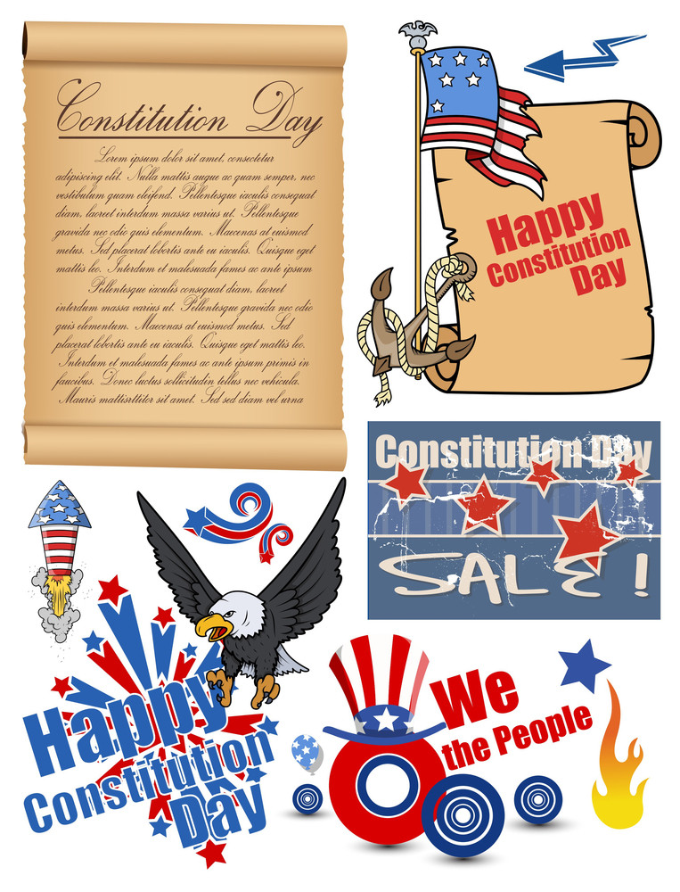 Usa Theme Constitution Day Vector Set