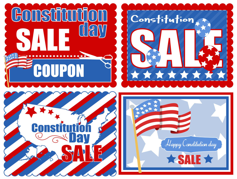 Usa Theme Coupon Background Constitution Day Vector Illustration