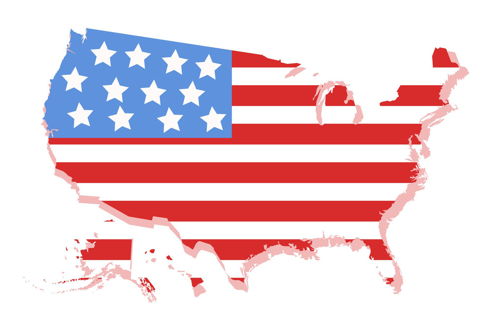 usa vector map with americas flag design