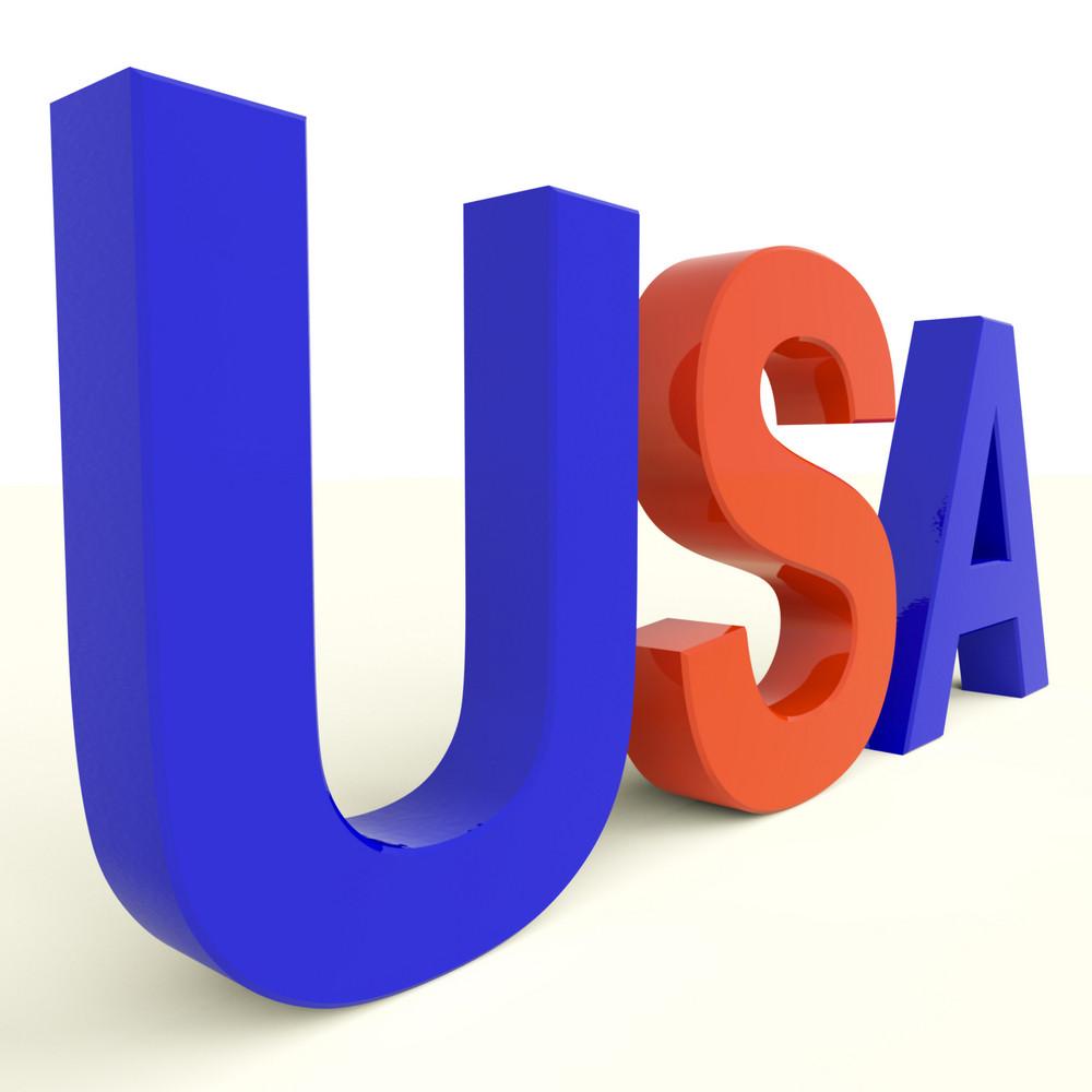 Usa Word As Symbol For America And Patriotism