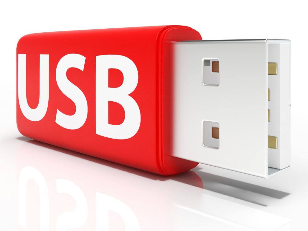 Usb Flash Drive Shows Portable Storage Or Memory