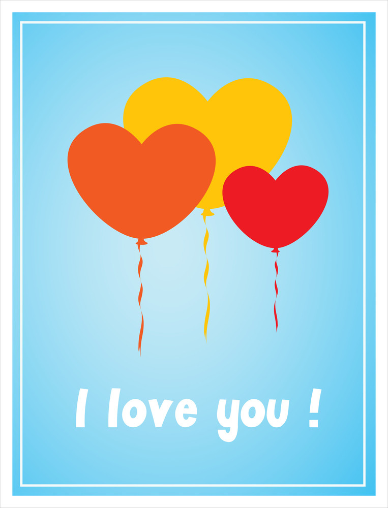 Valentine Balloons Greeting Card