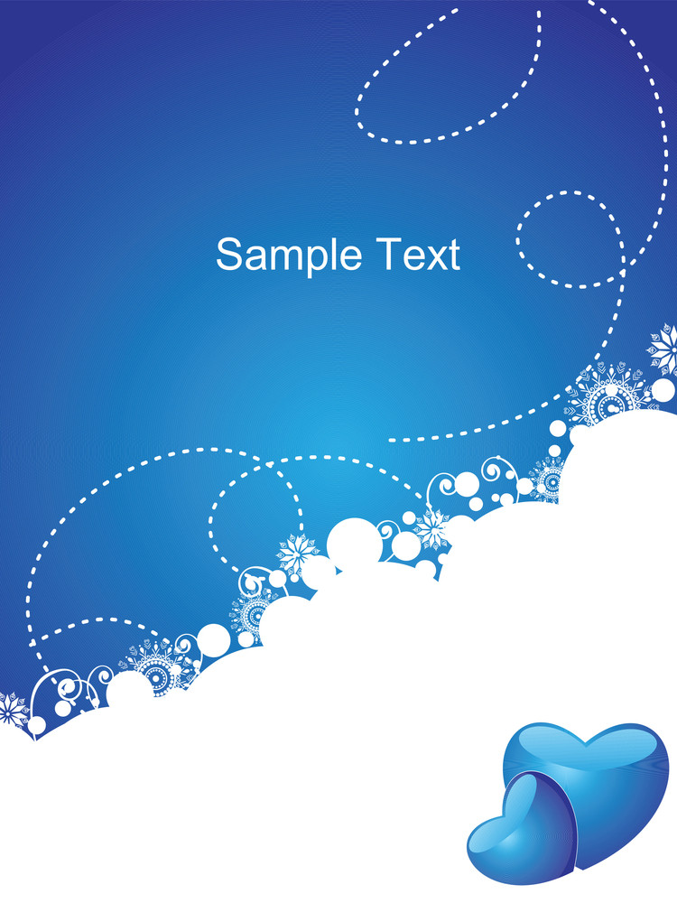 Valentine Blue Background With Snowflake And Hearts