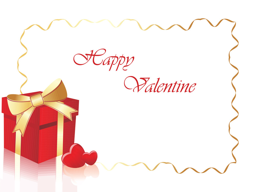 Valentine Day Background With Gift