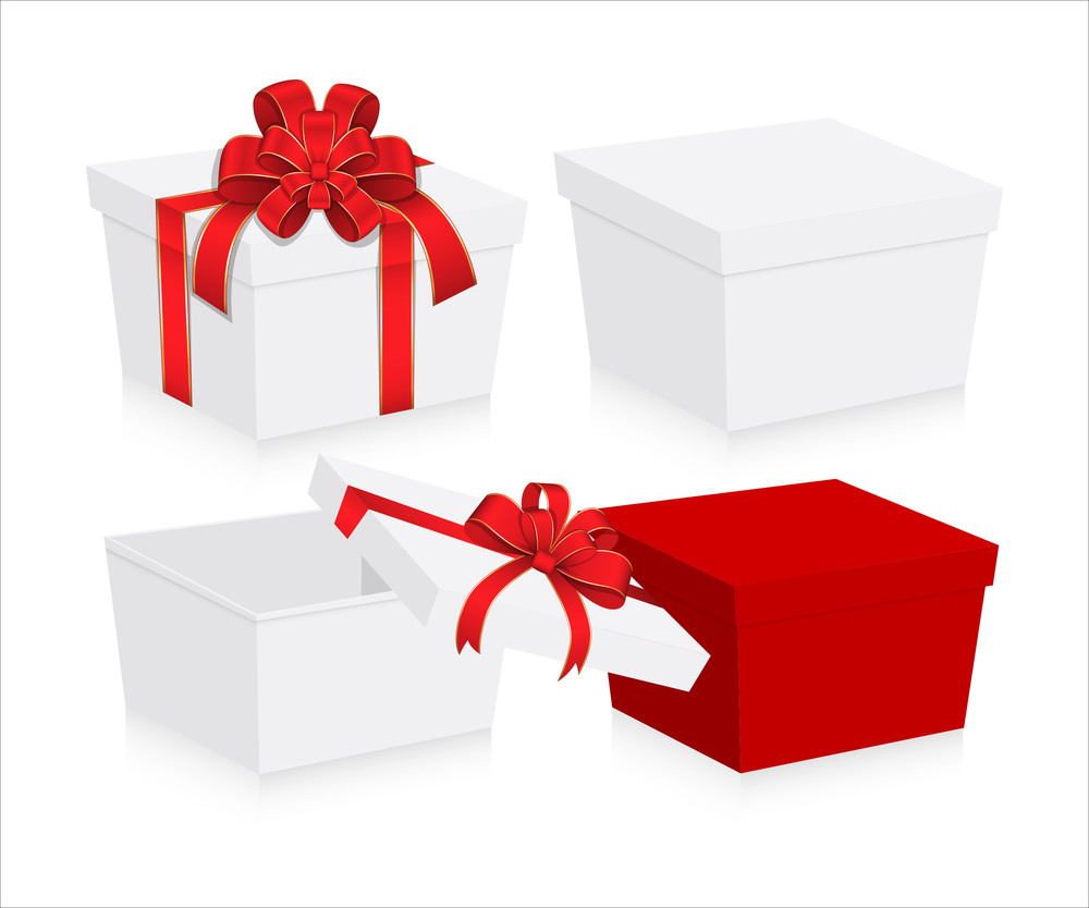 Valentine Gift Boxes With Ribbon Bow Vector