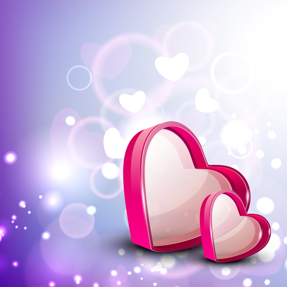Valentine Greeting Card With Heart And Text Love.