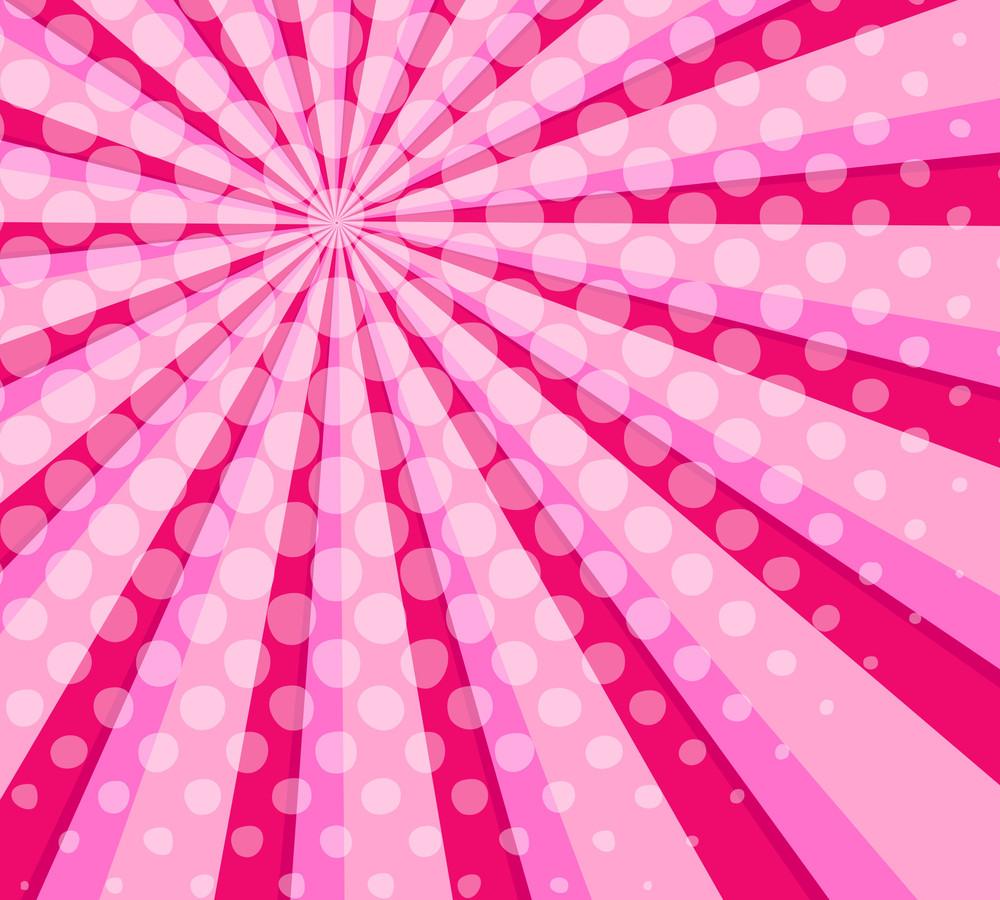 Valentine Halftone Sunburst Background