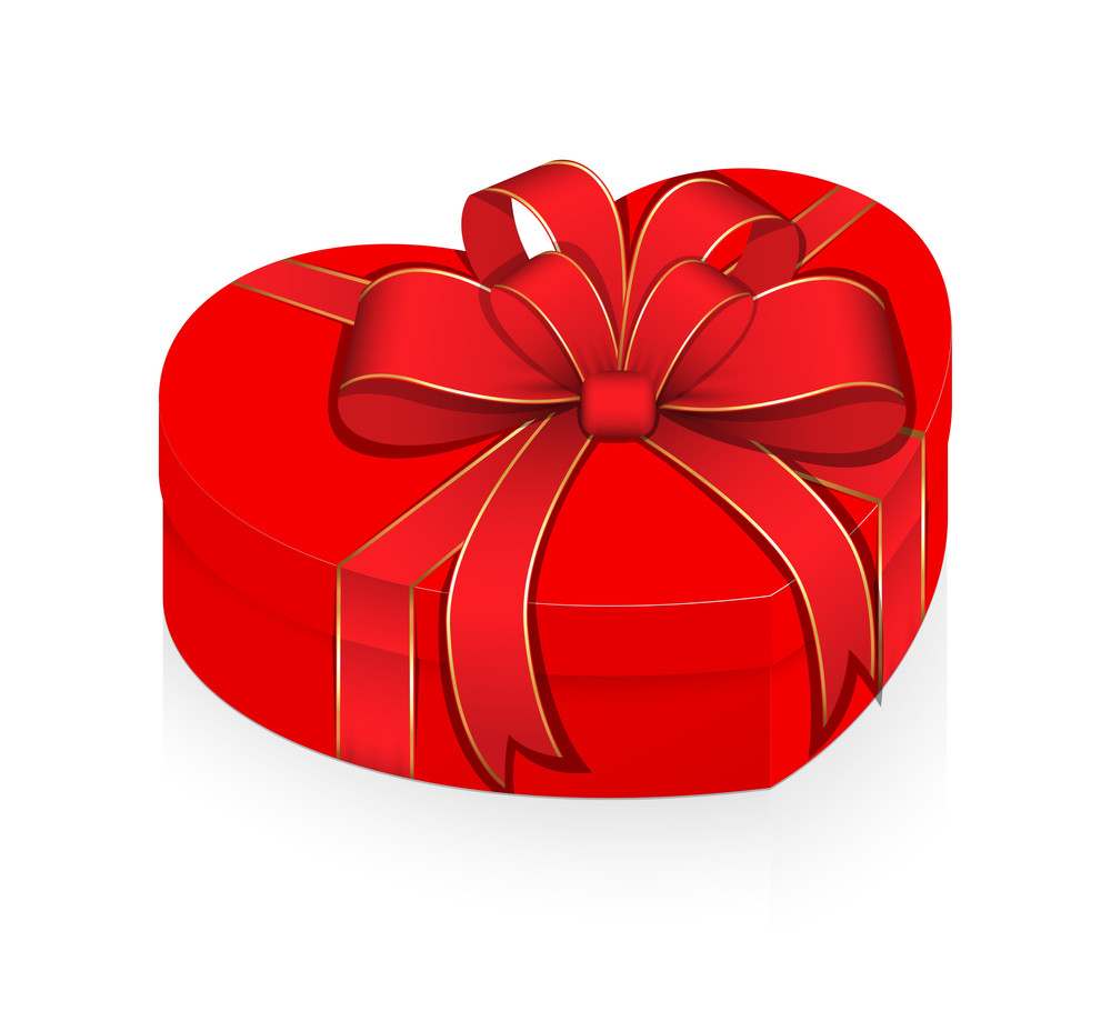 Valentine Heart Box Wrapped With Ribbon Bow