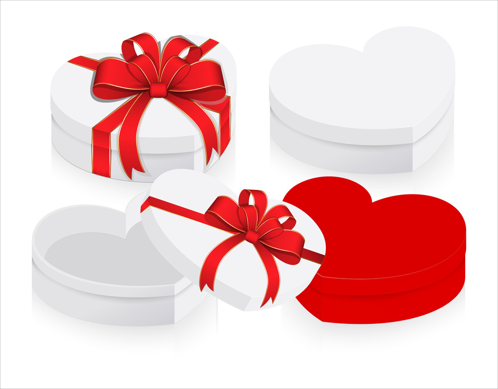 valentine heart gift boxes with ribbon bow vector