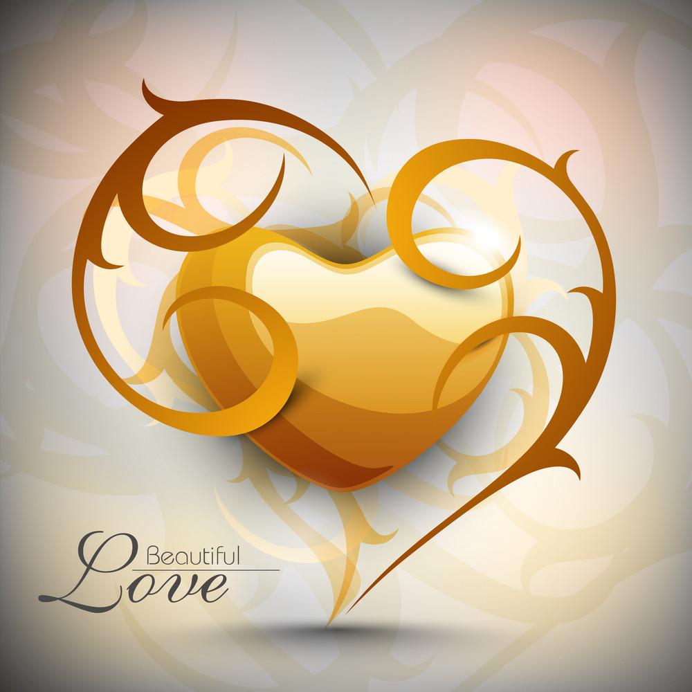 Valentine Heart With Floral Creative Artwork.