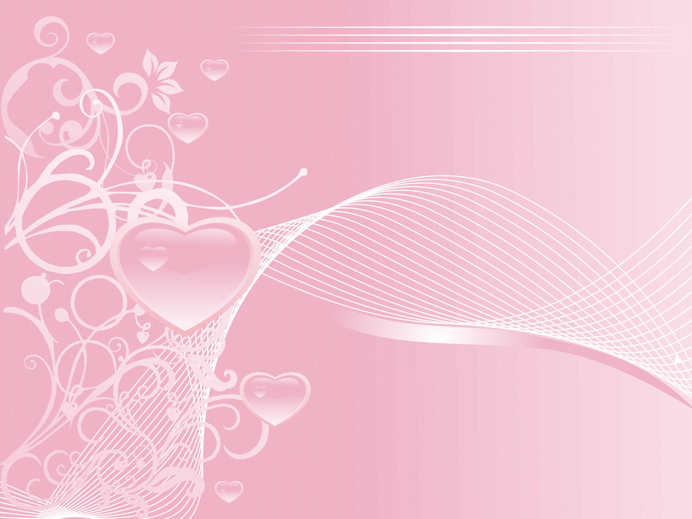 Valentine Hearts With Waves And Floral Elements