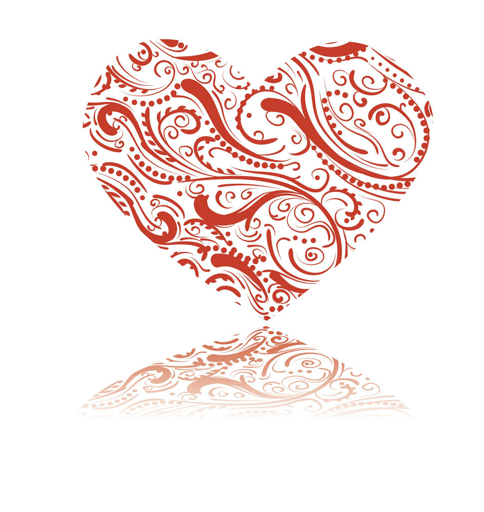 Valentine Illustration Of A Heart Made Of Floral