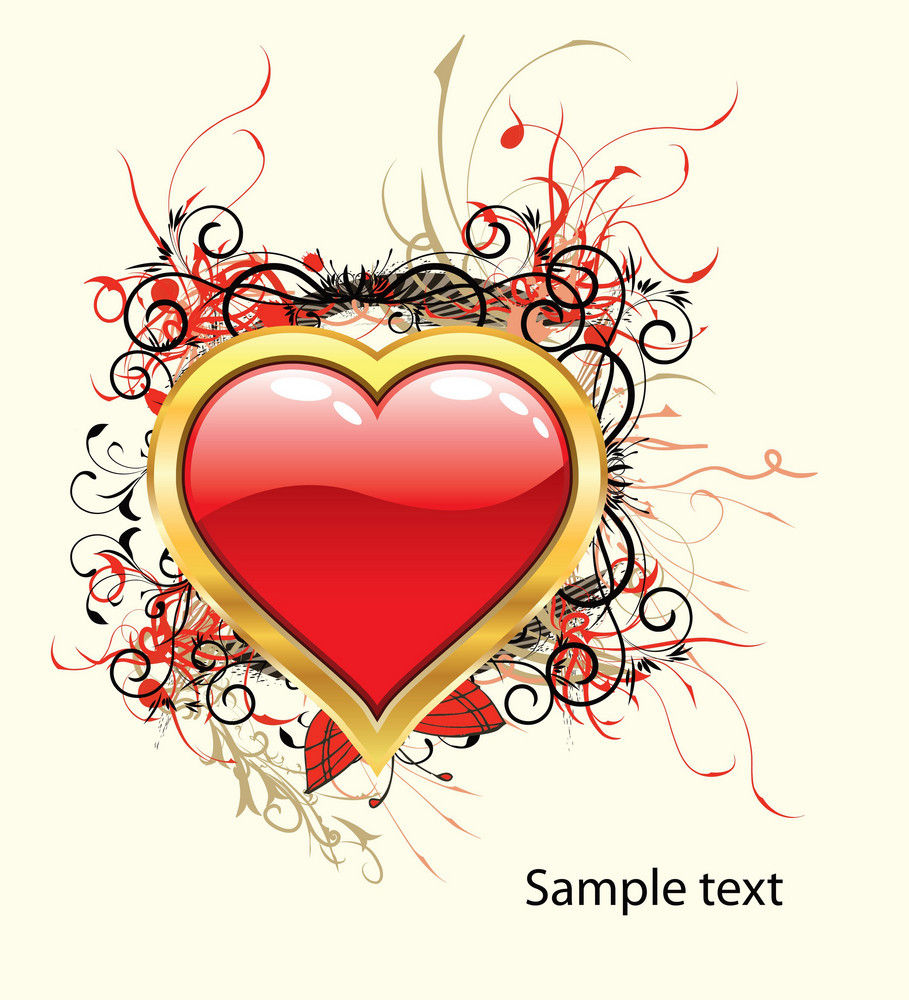 Valentine Illustration With Gold Heart