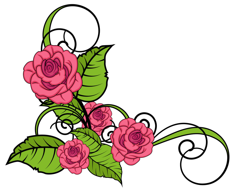 Valentine Roses Flourish Corner
