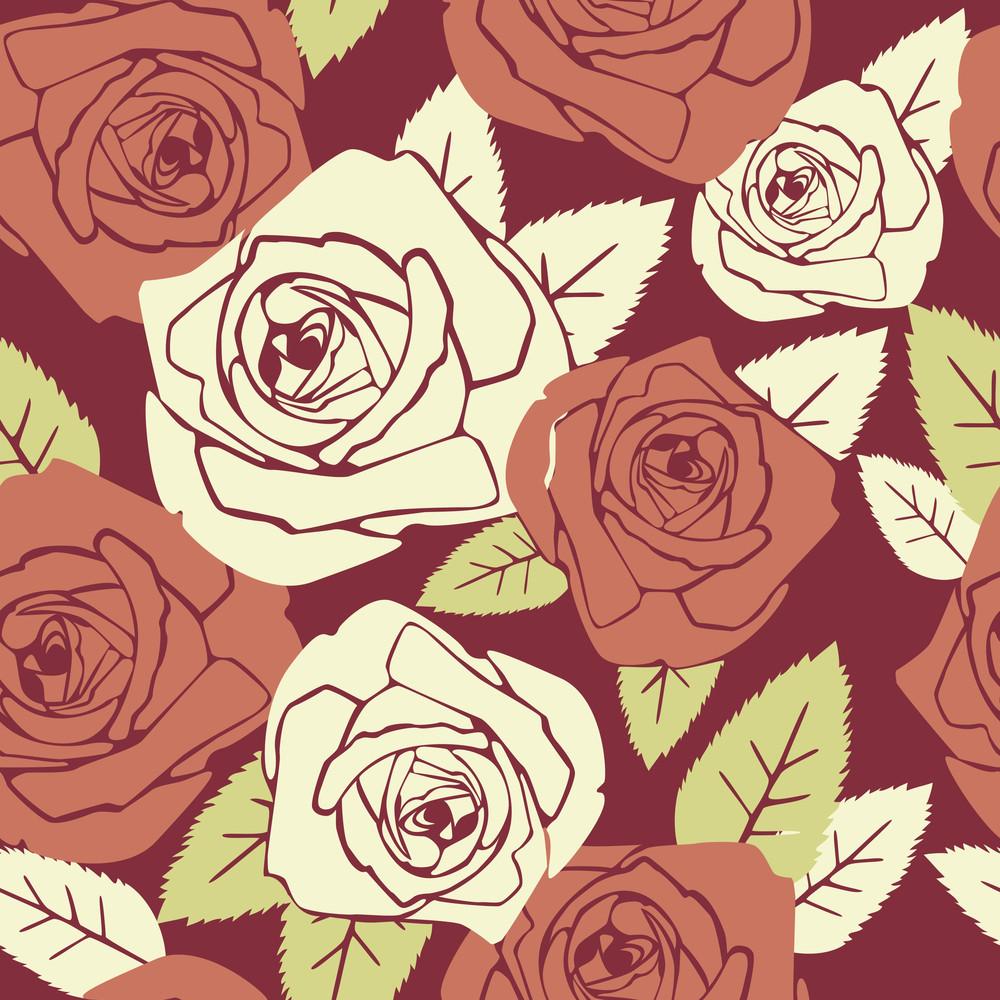 Valentine Seamless Pattern With Rose Design--