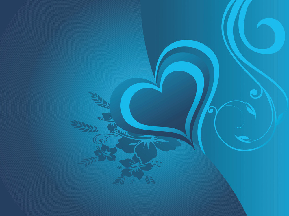 Valentines Blue Heart With Floral Elements