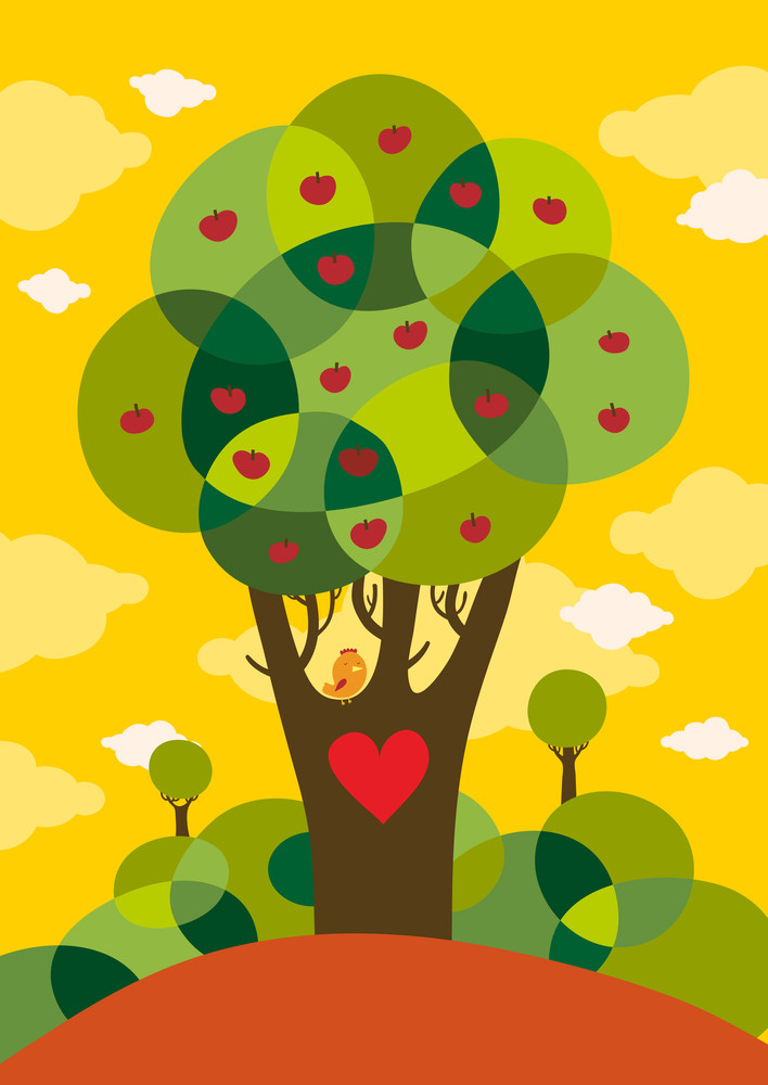 Valentine's Day Card With Cute Bird On A Tree