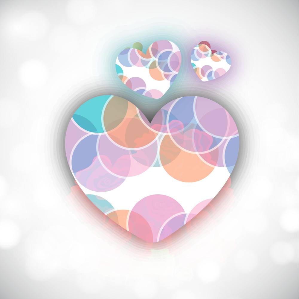 Valentines Day Hearts On Grey Background