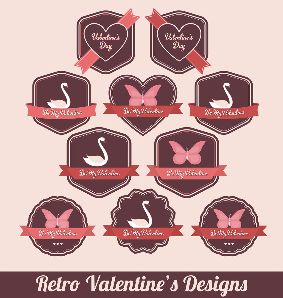 Valentines Day Labels - High Quality Retro Design