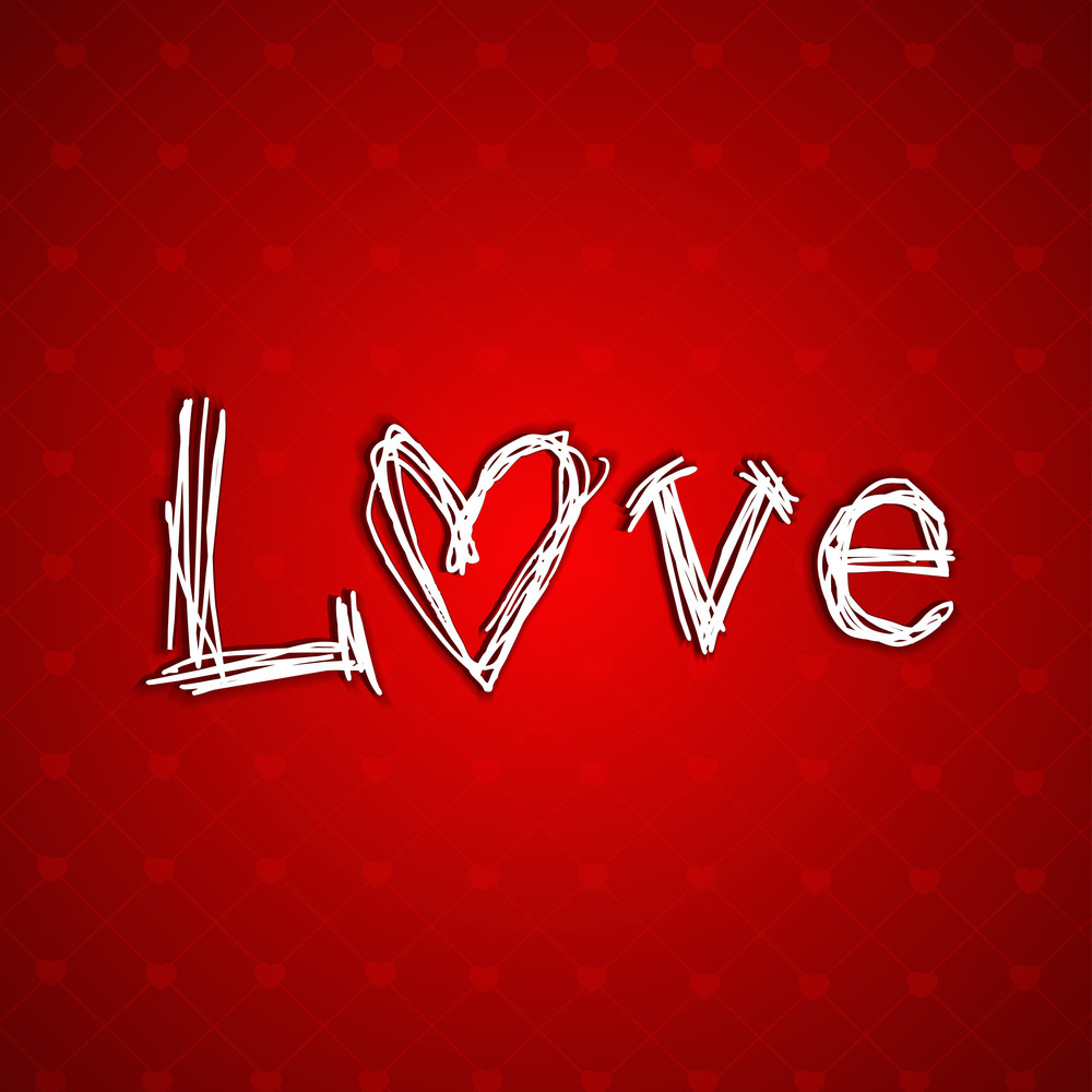 Valentines Day Love     With Text Love On Red Background