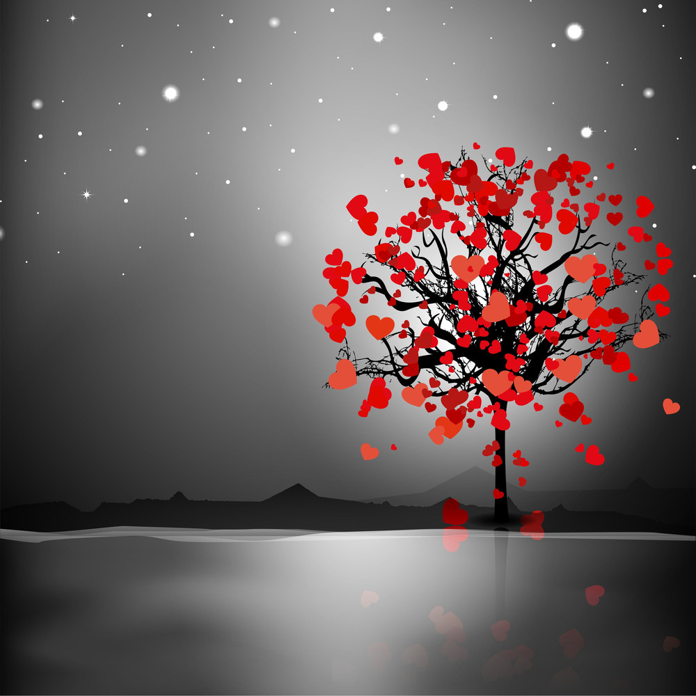 Valentines Day On Night Background