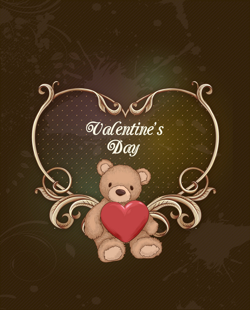 Valentine's Day Vector Illustration With Floral Hart And Little Bear
