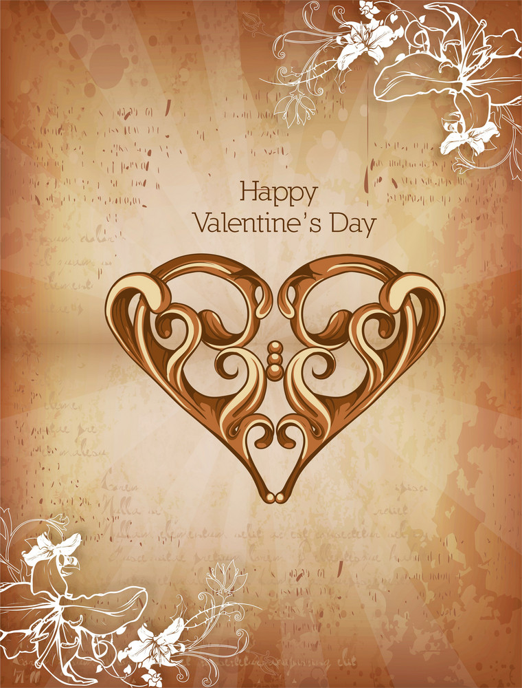 Valentine's Day Vector Illustration With Floral Hart